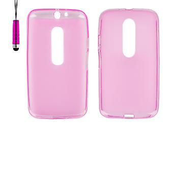 Crystal Gel case + stylus for Motorola Moto G3 (3rd Gen 2015) - Hot Pink