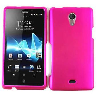 Cellulaire illimité Snap-On cas pour Sony Xperia TL - miel Hot Pink, cuir Fin