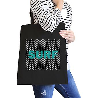 Surf Waves Black Unique Design Canvas Beach Tote Gift For Surfers