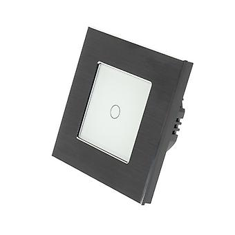 I LumoS Black Brushed Aluminium 1 Gang 1 Way Touch LED Light Switch White Insert