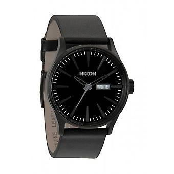 Nixon The Sentry Leather Watch - All Black