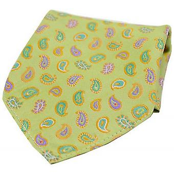 David Van Hagen Teardrop Paisley Silk Pocket Square - Lime Green