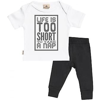 Spoilt Rotten Life Too Short For Nap Babygrow & Jersey Trousers Outfit Set