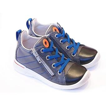 ECCO Ecco First Boys Grey Leather Boots With Blue Laces