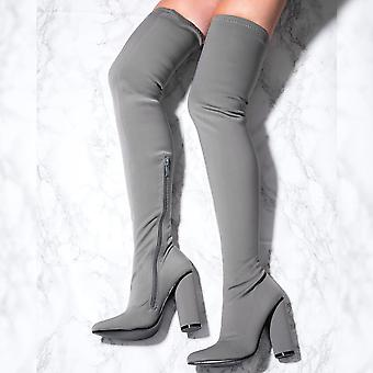 Spylovebuy TAMARA Pointed Toe Cylinder Heel Over Knee Tall Boots - Grey Lycra