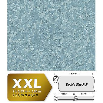 Uni wallpaper EDEM 9076-29 non-woven wallpaper coined in trowel finish and metallic effect blue turquoise 10.65 m2