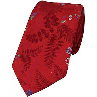 Posh and Dandy Floral Leaf Pattern Silk Tie - Red