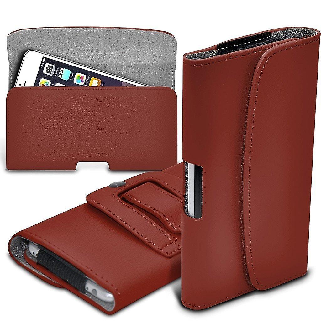 ONX3 Premium (brun) horizontale en Faux cuir ceinture étui pochette Housse Etui avec fermeture magnétique pour Motorola Moto C Plus