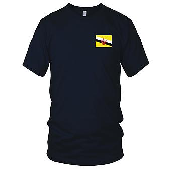 Brunei Land Nationalflagge - Stickerei Logo - 100 % Baumwolle T-Shirt Herren T Shirt