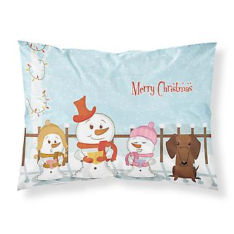 Merry Christmas Carolers Dachshund Red Brown Fabric Standard Pillowcase