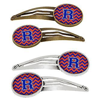 Letra R Chevron naranja y azul Set de 4 pinzas de pelo Barrettes