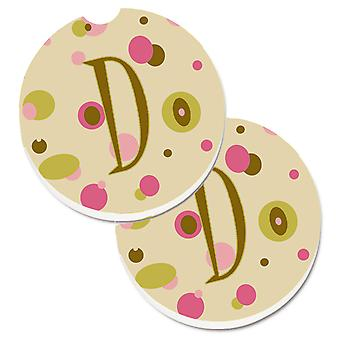 Letter D Initial Monogram - Tan Dots Set of 2 Cup Holder Car Coasters