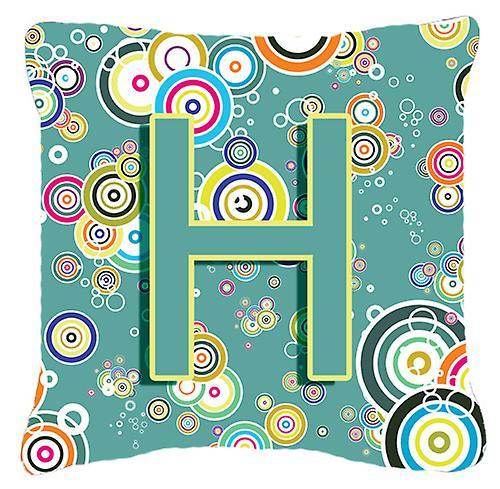 Décoratif Oreiller Toile Tissu Sarcelle Alphabet Lettre Initial Bleu H Cercle lTc1JFK