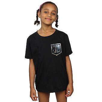 DC Comics Girls Justice League Movie Shield Faux Pocket T-Shirt