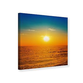 Leinwand drucken am Meer bei Sonnenuntergang