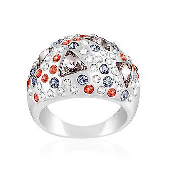 Kristall Swarovski Elementen Multicolor und Rhodium - T54 Platte ring