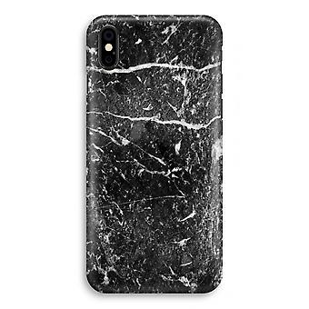 iPhone X フル印刷ケース (光沢のある) - 黒大理石