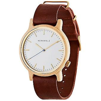 Notched wooden watches mens watch Walter Maple / cognac