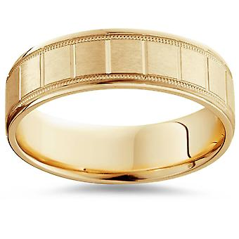 6mm Flat Brushed Hand Carved Mens 14K Yellow Gold Flat Wedding Band