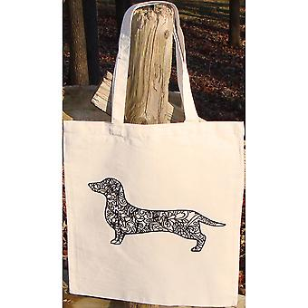 Stamped Canvas Tote To Color-Dachshund 98109T