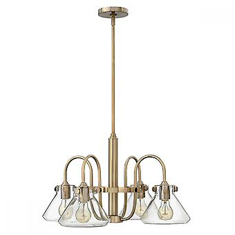 Brushed Caramel Clear Glass Chandelier - 4 x 100W E27