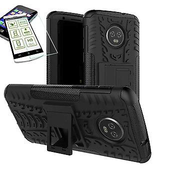 Для Motorola Moto G6 плюс Гибридная случай 2 кусок черный + пуленепробиваемые сумка чехол рукав