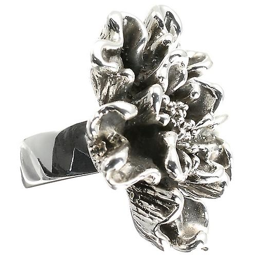 Silver Ring Curled Flower