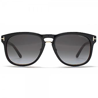 Tom Ford Franklin Sunglasses In Shiny Black Blue