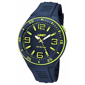 Gränsen Mens Navy läderrem marinblå urtavla 5569.24 Watch