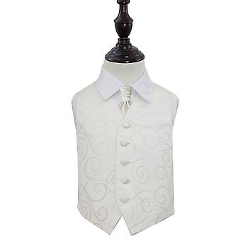 Ivory Scroll Wedding Waistcoat & Cravat Set for Boys