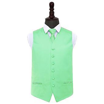 Menta verde llanura novia chaleco y corbata conjunto