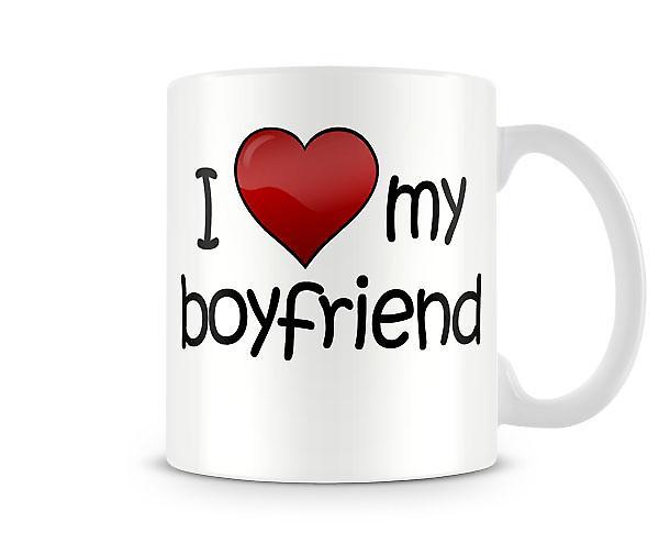 Jag älskar min pojkvän tryckta mugg