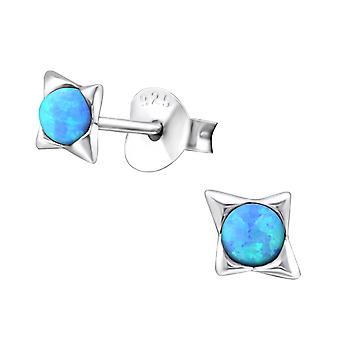 Star - 925 Sterling Silver Opal And Semi Precious Ear Studs - W27126x