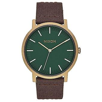 Nixon The Porter Leather Watch - Brown/Brass/Palm Green
