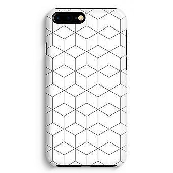 iPhone 8 Plus Full Print Case (Glossy) - Cubes black and white