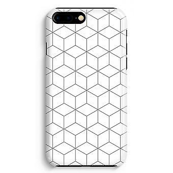 iPhone 8 に加えて、フル印刷ケース (光沢のある) - 黒と白のキューブ