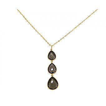 Gemshine - ladies - necklace - pendant - 925 silver - gilt - smoky quartz - Brown - CANDY - drops - 9 cm