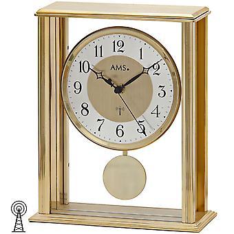 Tisch Uhr Tischuhr Funk mit Pendel Mineralglas mit messingfarbenem Metallgehäuse