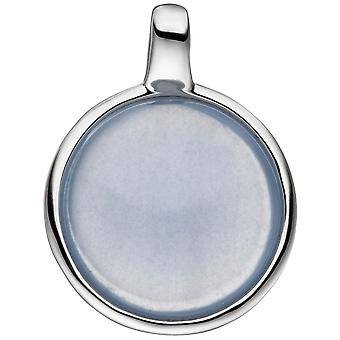 Charm 925 sterling silver with 1 chalcedony blue round Silver Pendant
