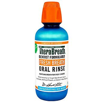 Enjuague bucal aliento fresco de Therabreath, estimulante sabor a menta helada, 16 oz