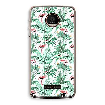 Motorola Moto Z Force Transparent Case (Soft) - Flamingo leaves
