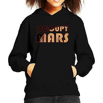 Occupy Mars Text With Planet Kid's Hooded Sweatshirt