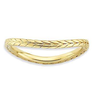 1,5 mm Sterlingsilber gemustert stapelbar Ausdrücke poliert Gold blitzte Wave Ring - Ring-Größe: 5 bis 10