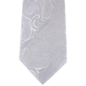 David Van Hagen große Paisley Krawatte - Silber