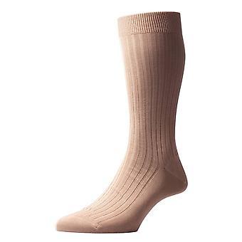 Pantherella Danvers Rib Cotton Lisle Socks - Ligh Khaki