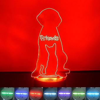 Best Friends Cat and Dog Colour Changing LED Acrylic Light