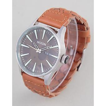 Nixon Sentry Leather Watch - Dk Copper/saddle Woven