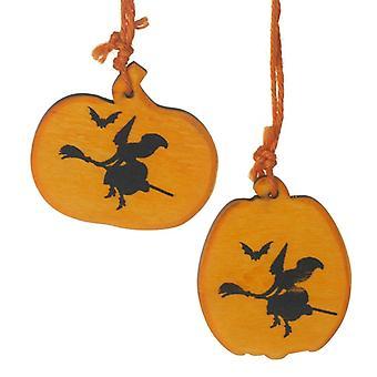 Set of 2 Hanging Pumpkin Decorations