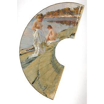 Les baigneuses, study, Anders Zorn, 71.5 x 37.5 cm