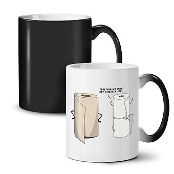 Toilet Towel NEW Black Colour Changing Tea Coffee Ceramic Mug 11 oz | Wellcoda